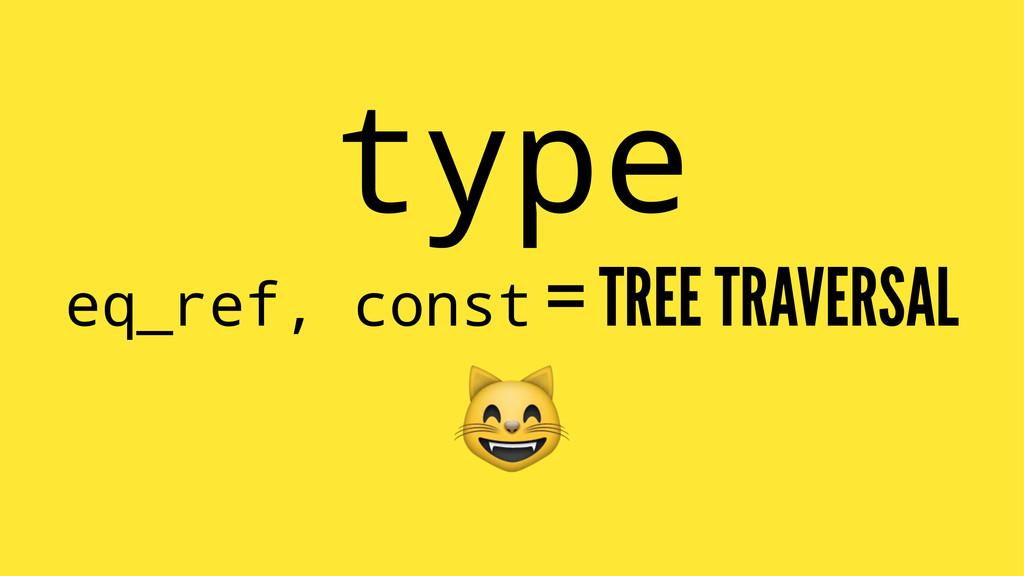 type eq_ref, const = TREE TRAVERSAL !