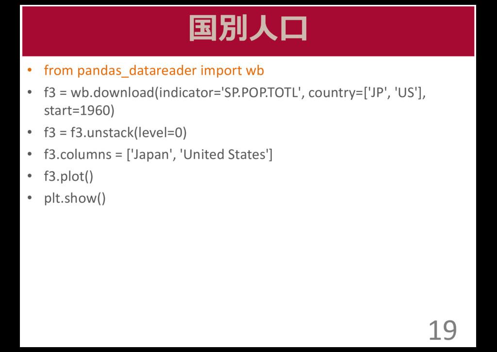 国別⼈人⼝口 • from pandas_datareader import wb...