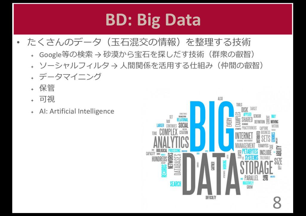 BD: Big Data • たくさんのデータ(⽟玉⽯石混交の情報)を整理理する技...