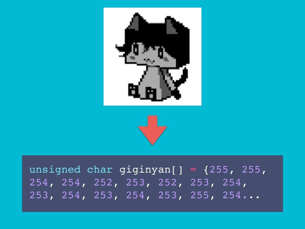 unsigned char giginyan[] = {255, 255, 254, 254,...