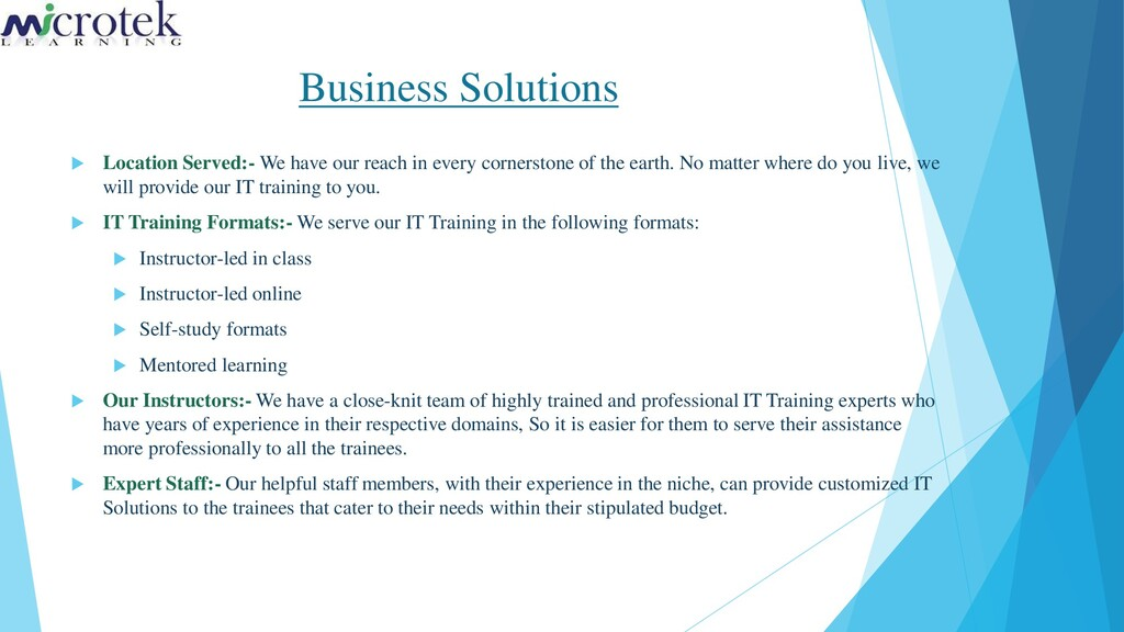 Business Solutions  Location Served:- We have ...