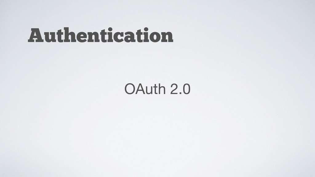 Authentication OAuth 2.0