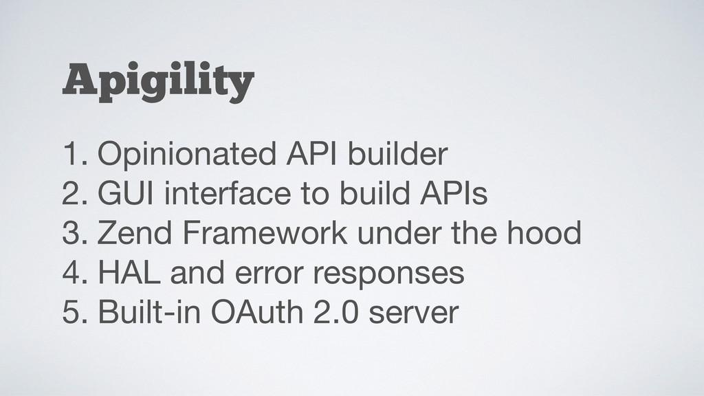 Apigility 1. Opinionated API builder  2. GUI in...