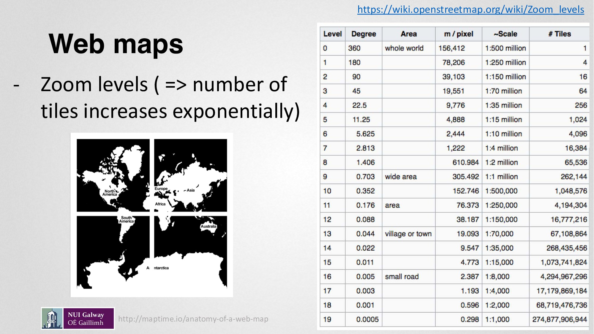 Web maps - Zoom levels ( => number of tiles inc...