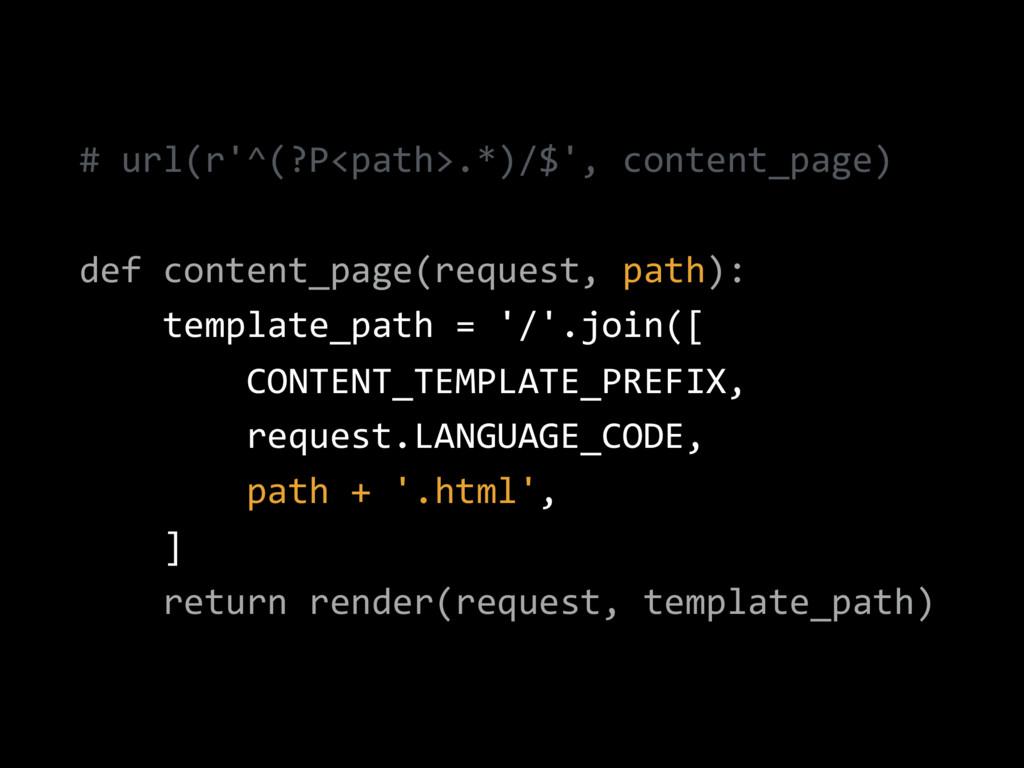 # url(r'^(?P<path>.*)/$', content_page) def con...
