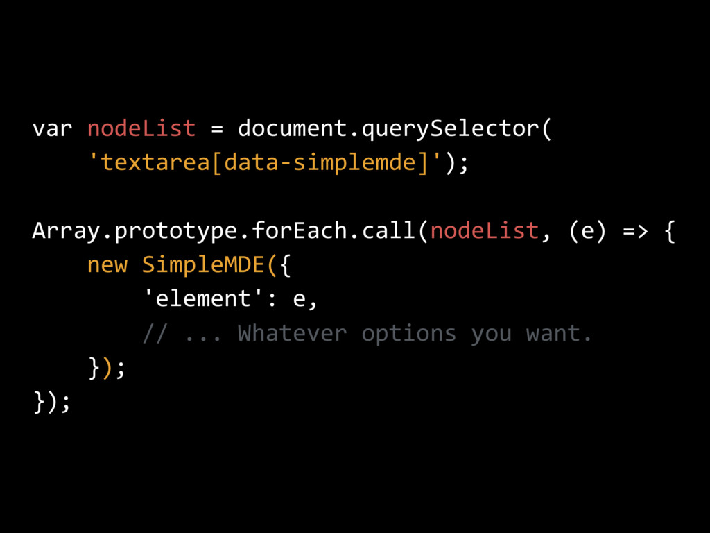 var nodeList = document.querySelector( 'textare...