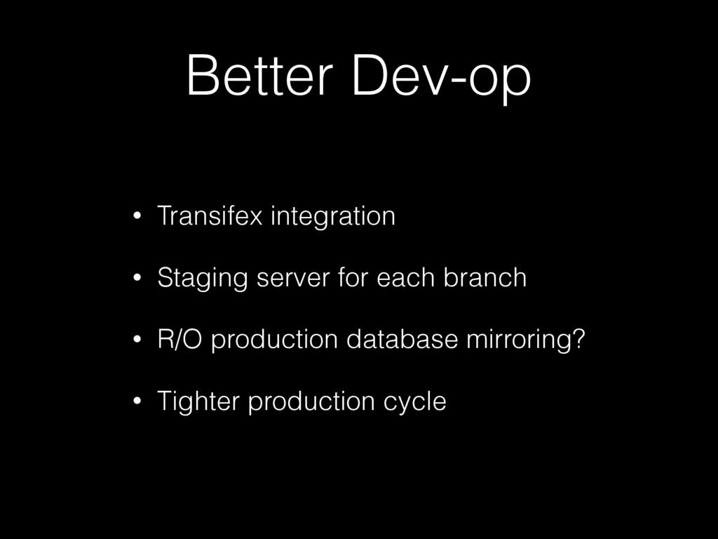 Better Dev-op • Transifex integration • Staging...