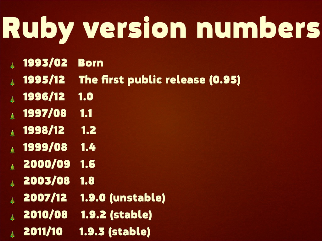 Ruby version numbers  1993/02 Born  1995/12 The...