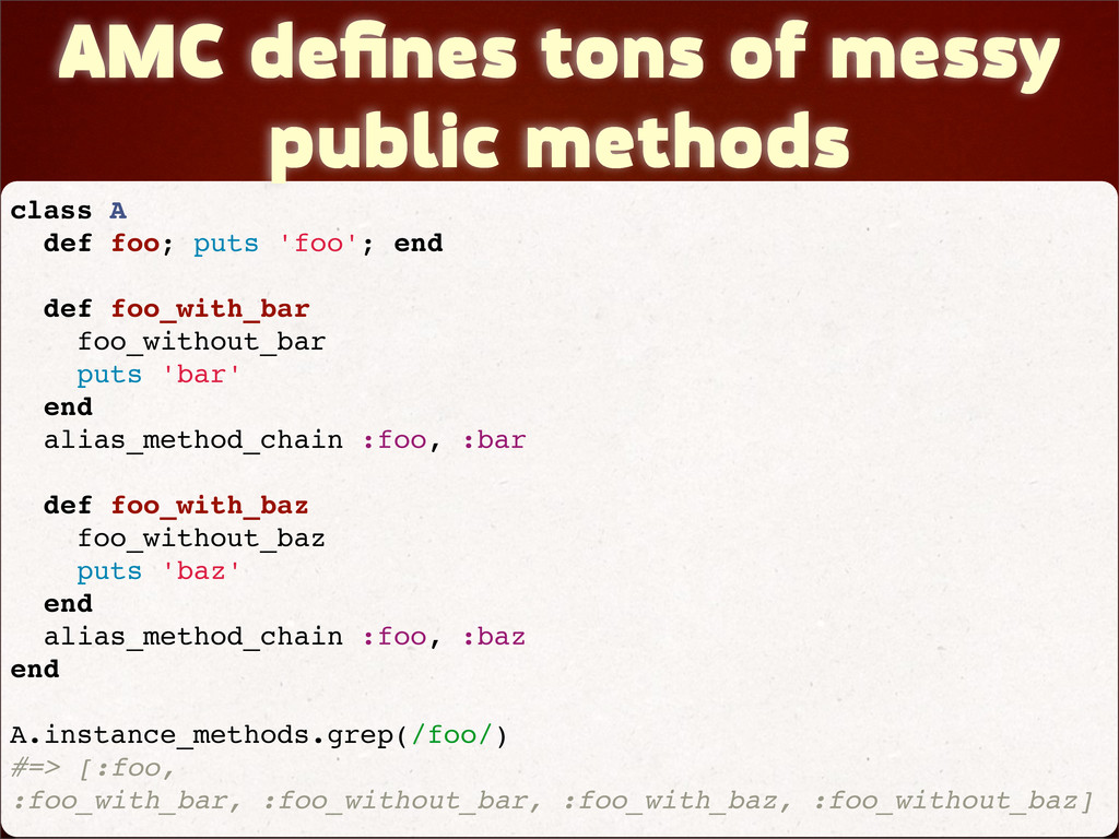 AMC defines tons of messy public methods class A...