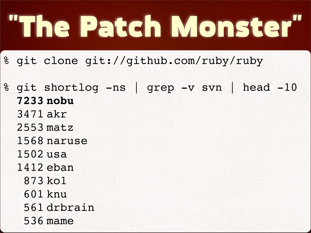 """The Patch Monster"" % git clone git://github.co..."