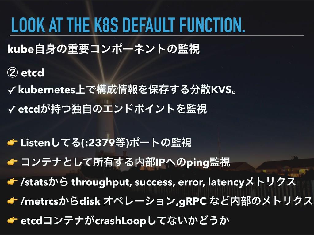 kubeࣗͷॏཁίϯϙʔωϯτͷࢹ ᶄ etcd LOOK AT THE K8S DEFA...