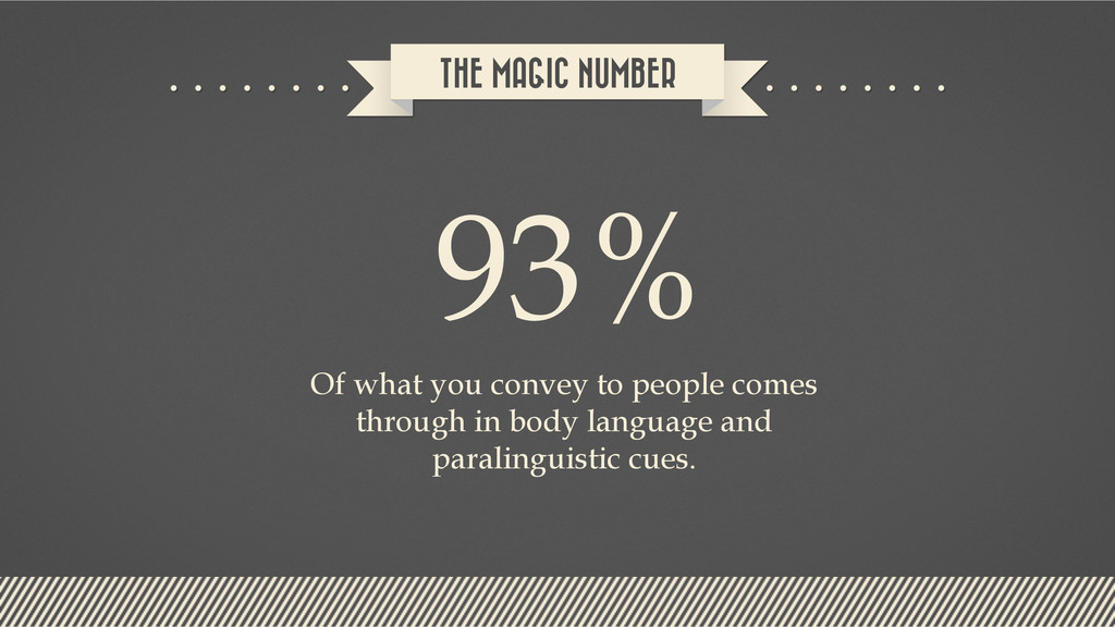 THE MAGIC NUMBER 93% Of what you convey to peop...