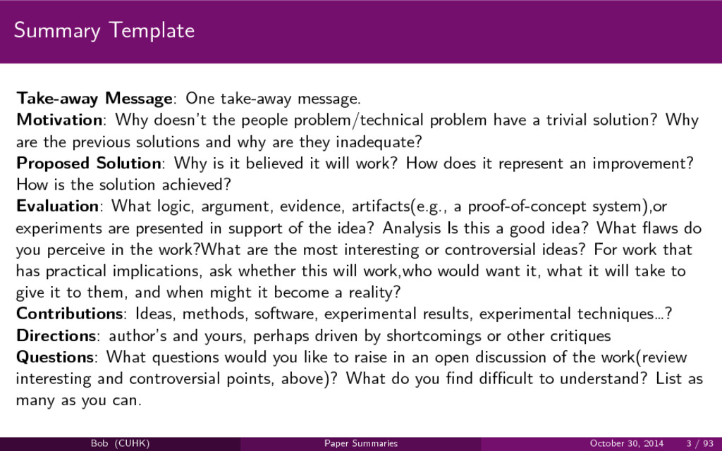 Summary Template Take-away Message: One take-aw...