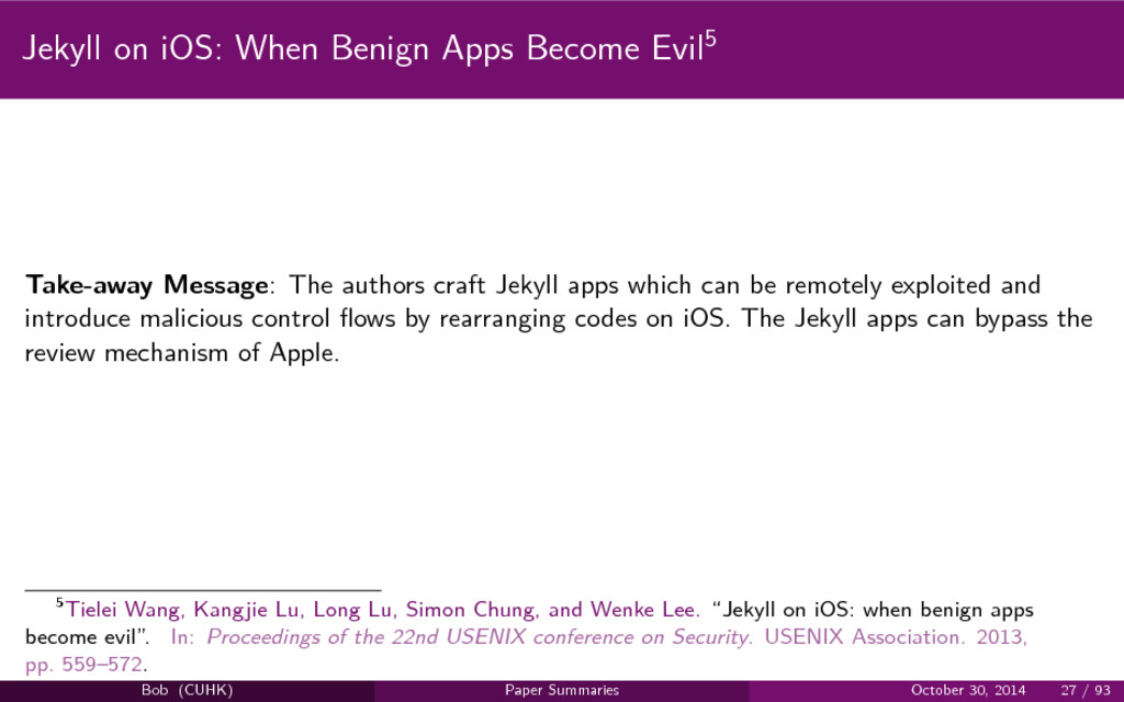 Jekyll on iOS: When Benign Apps Become Evil5 Ta...