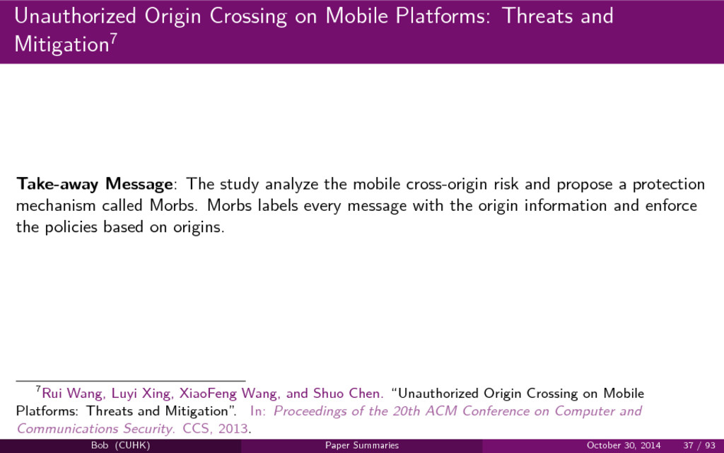Unauthorized Origin Crossing on Mobile Platform...