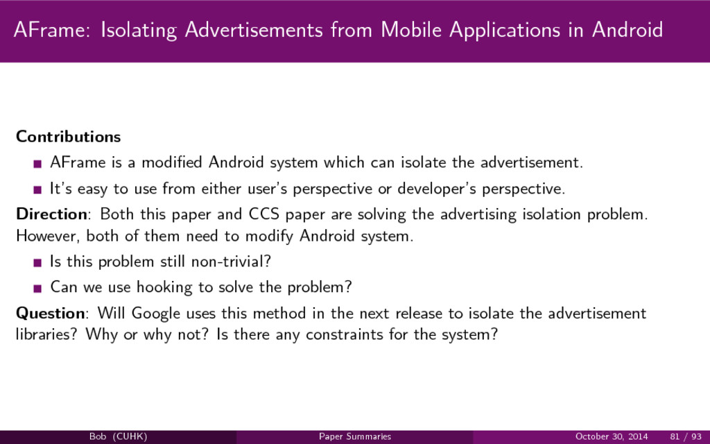 AFrame: Isolating Advertisements from Mobile Ap...