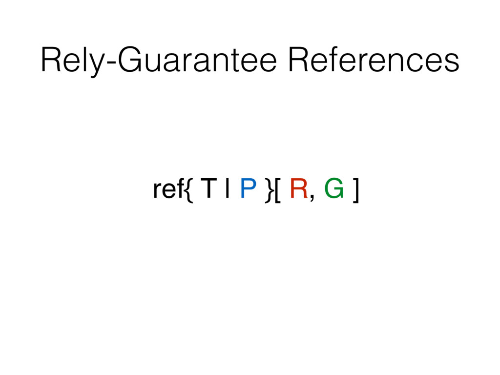 Rely-Guarantee References ref{ T | P }[ R, G ]