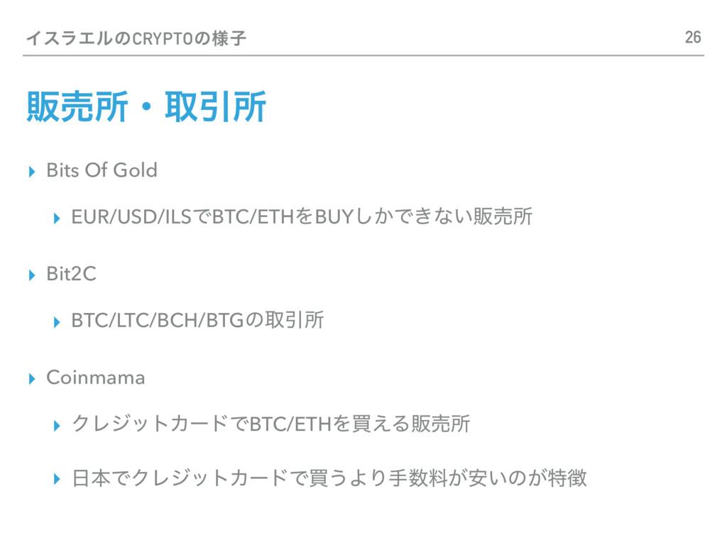 ΠεϥΤϧͷCRYPTOͷ༷ࢠ ▸ Bits Of Gold ▸ EUR/USD/ILSͰBT...