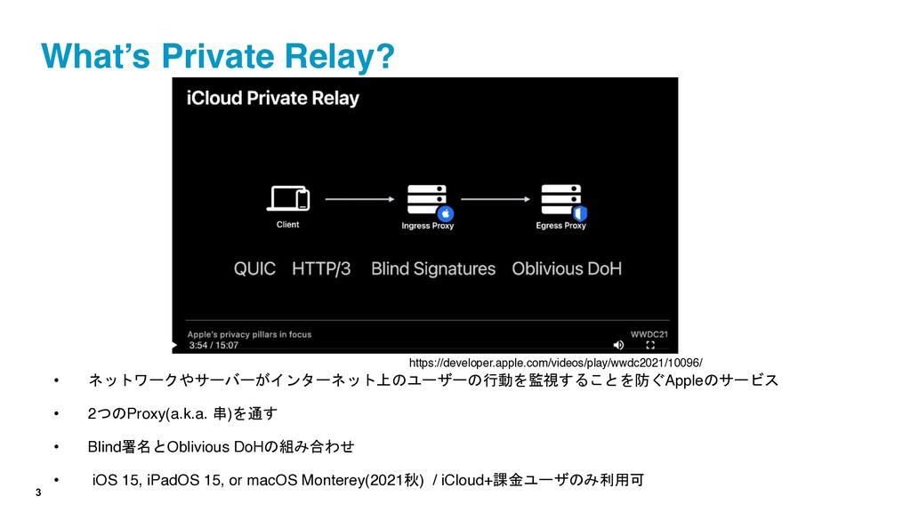 3 What's Private Relay? • ネットワークやサーバーがインターネット上の...