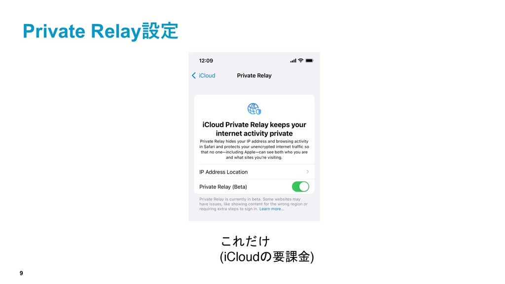 9 Private Relay設定 これだけ (iCloudの要課金)