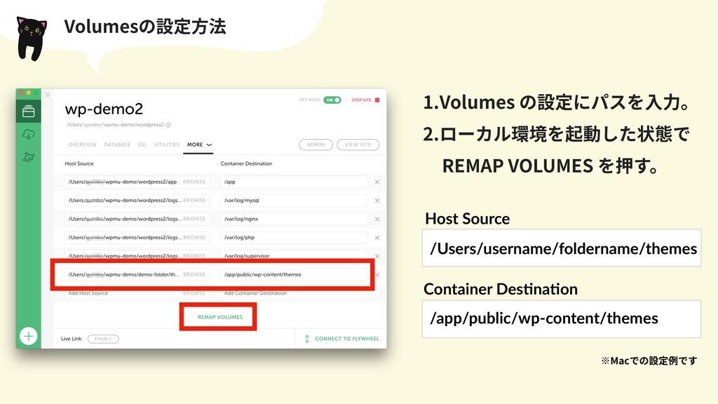 Volumesの設定⽅法 /app/public/wp-content/themes /Use...