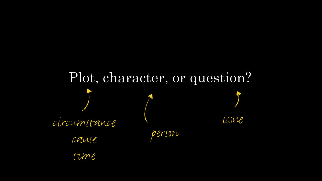 Plot, character, or question? circumstance caus...
