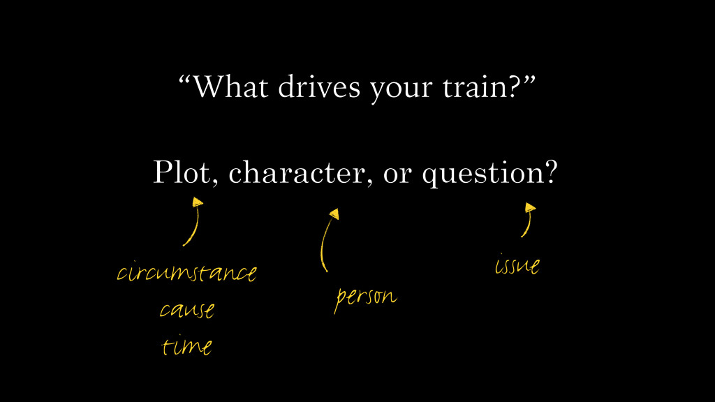 """What drives your train?"" Plot, character, or q..."
