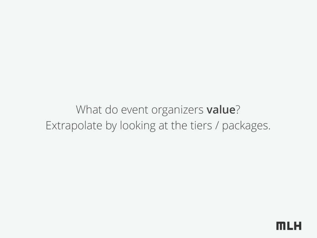 What do event organizers value? Extrapolate by ...