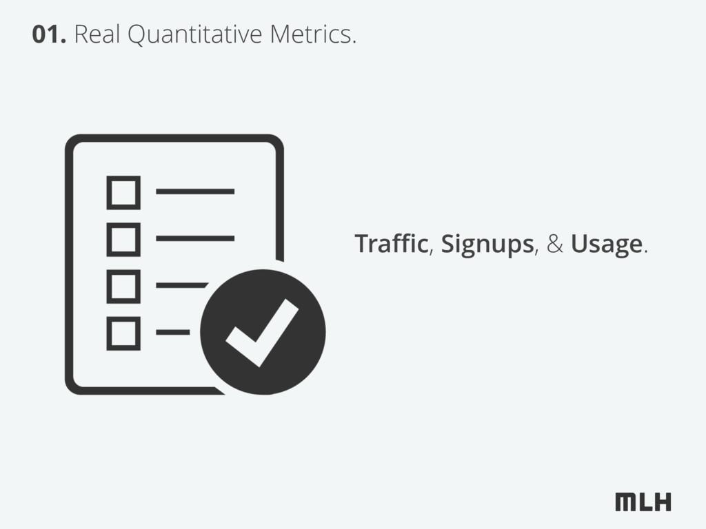 01. Real Quantitative Metrics. Traffic, Signups, ...