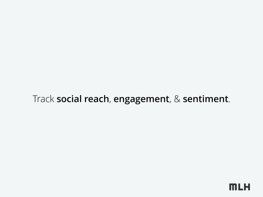 Track social reach, engagement, & sentiment.