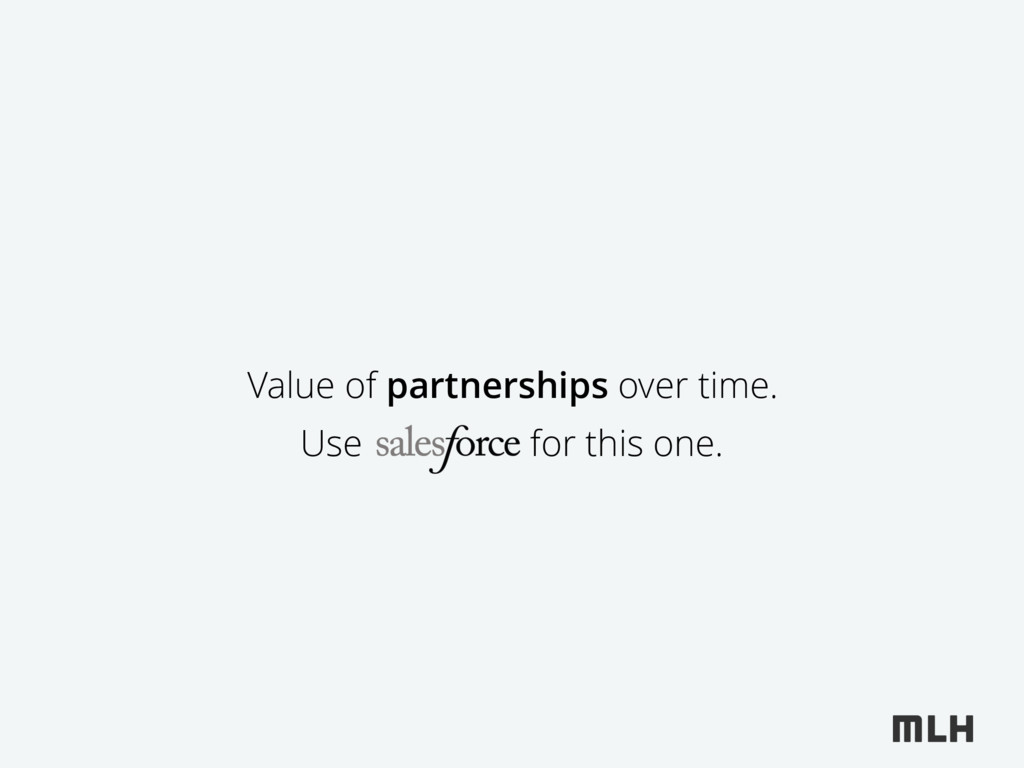 Value of partnerships over time. Use for this o...
