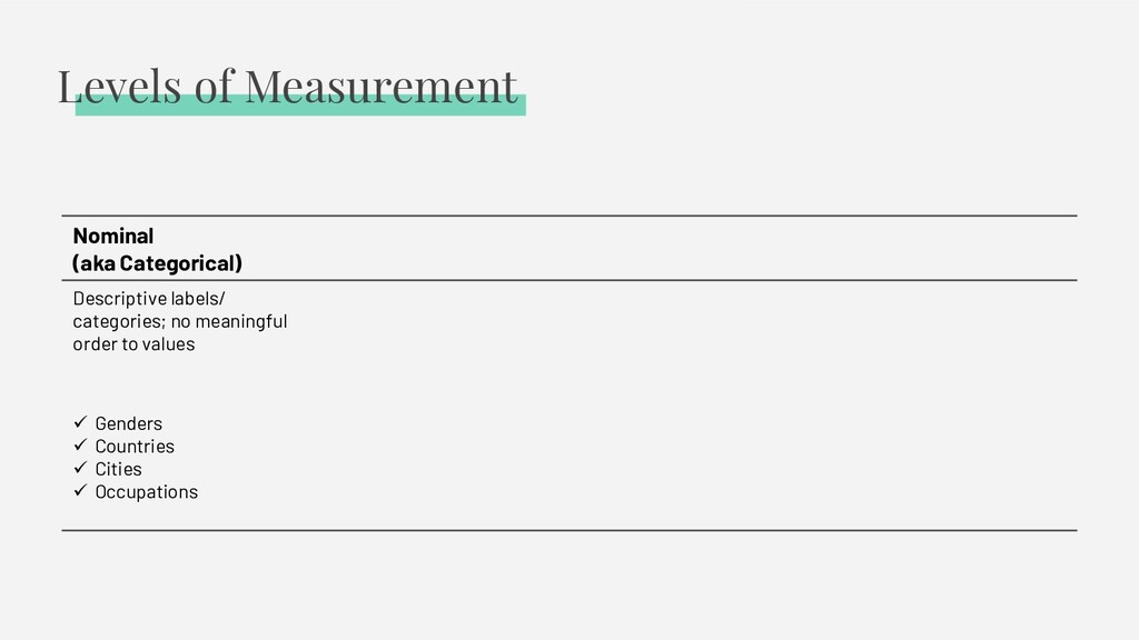 Levels of Measurement Nominal (aka Categorical)...