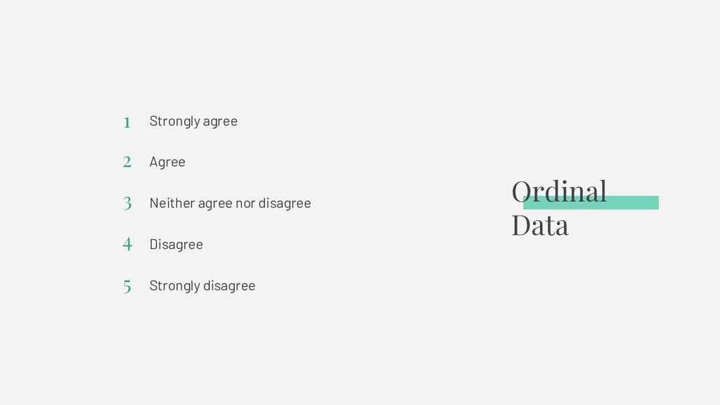 Ordinal Data Strongly agree Agree Neither agree...