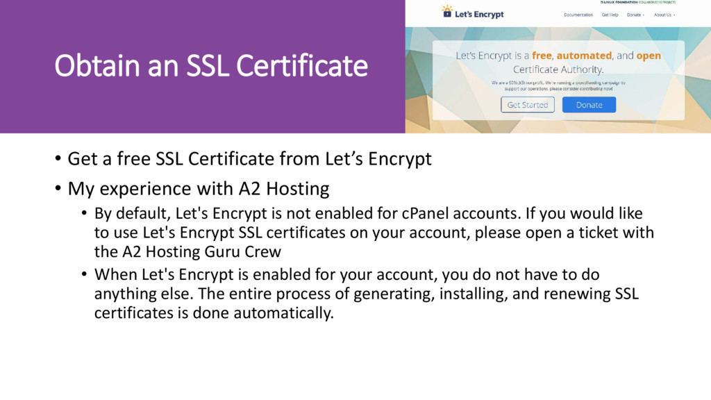 Obtain an SSL Certificate • Get a free SSL Cert...
