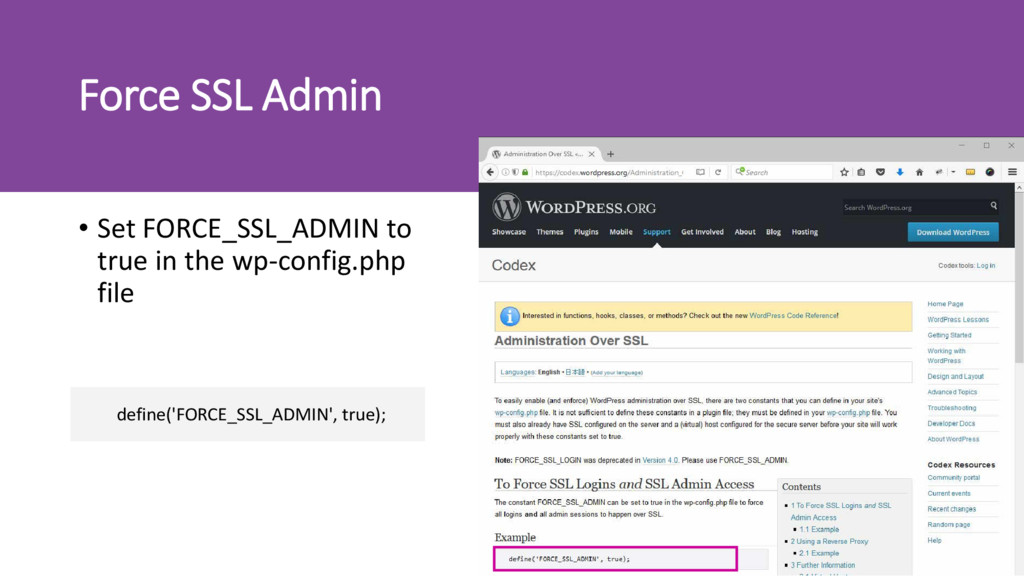 Force SSL Admin • Set FORCE_SSL_ADMIN to true i...