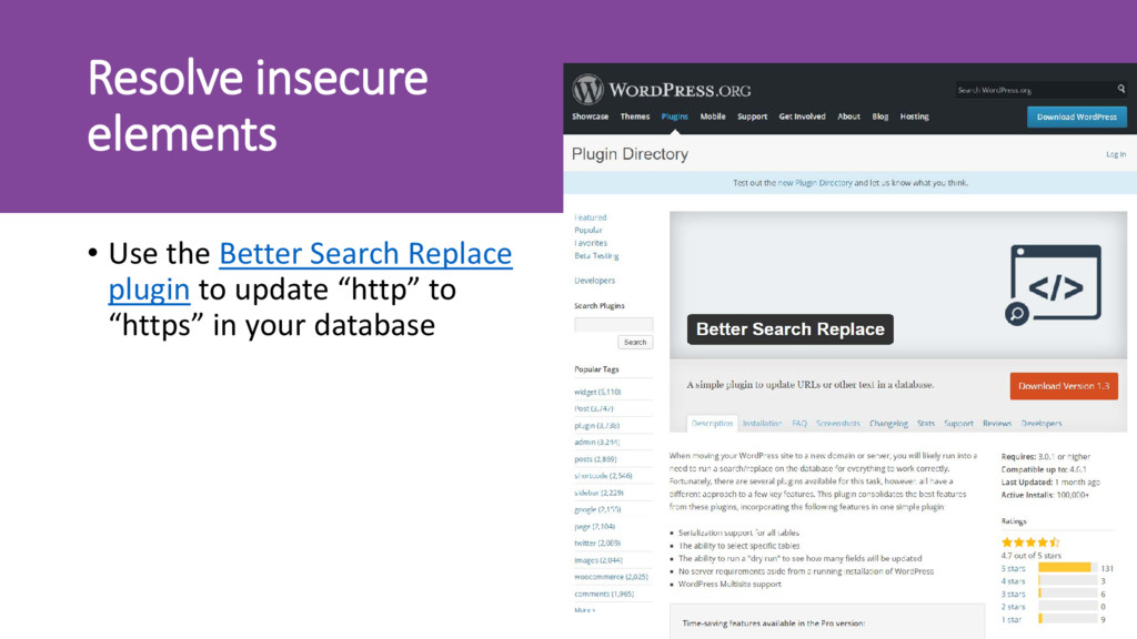 Resolve insecure elements • Use the Better Sear...