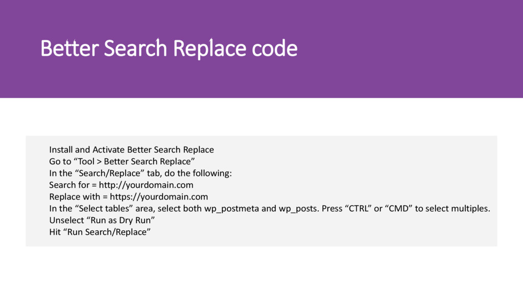 Better Search Replace code Install and Activate...