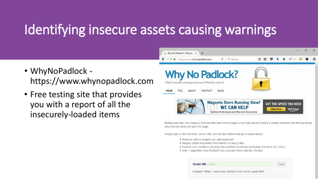 Identifying insecure assets causing warnings • ...