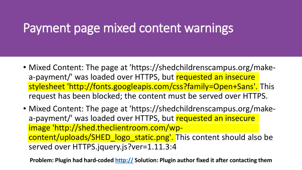Payment page mixed content warnings • Mixed Con...