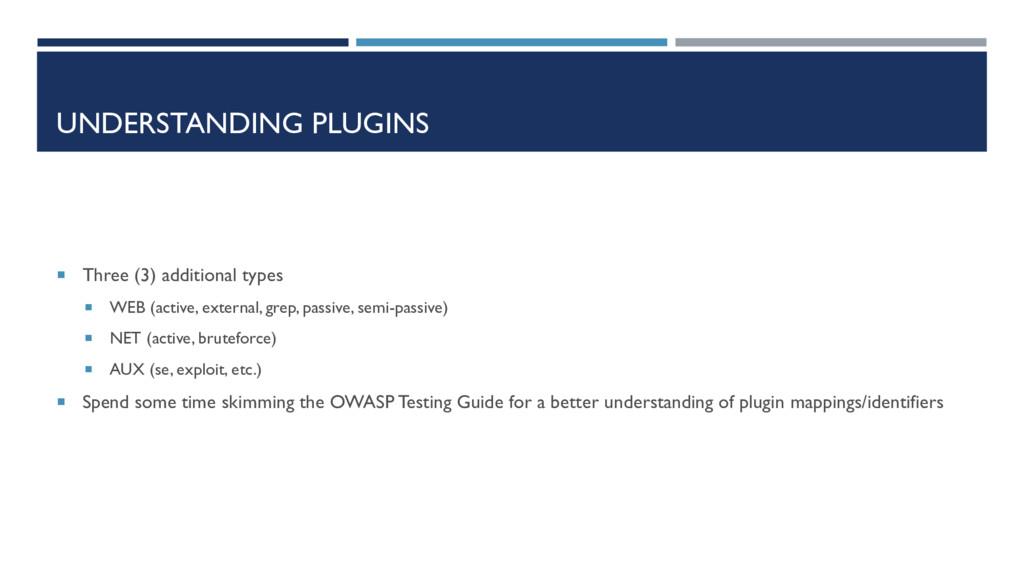 UNDERSTANDING PLUGINS  Three (3) additional ty...