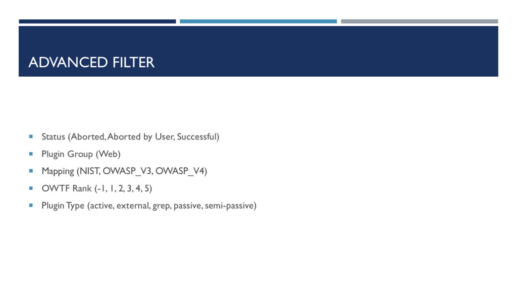 ADVANCED FILTER  Status (Aborted, Aborted by U...