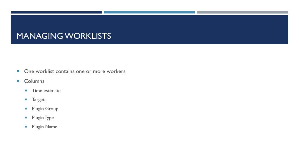 MANAGING WORKLISTS  One worklist contains one ...