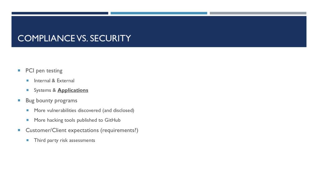 COMPLIANCE VS. SECURITY  PCI pen testing  Int...