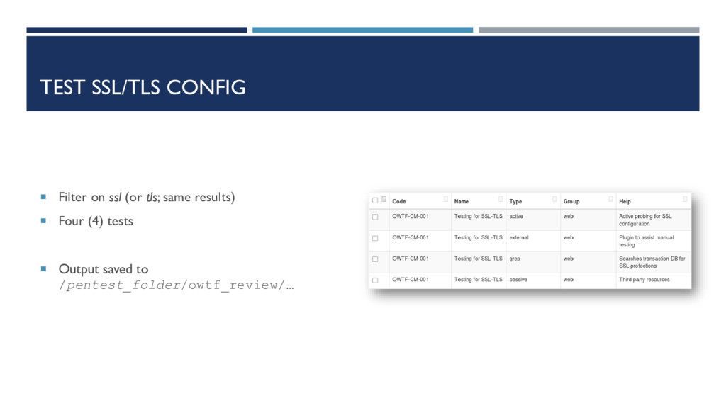 TEST SSL/TLS CONFIG  Filter on ssl (or tls; sa...