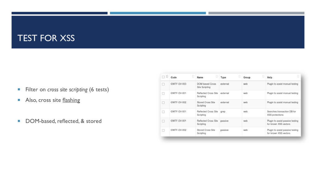 TEST FOR XSS  Filter on cross site scripting (...