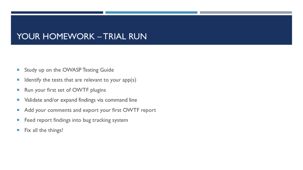 YOUR HOMEWORK – TRIAL RUN  Study up on the OWA...
