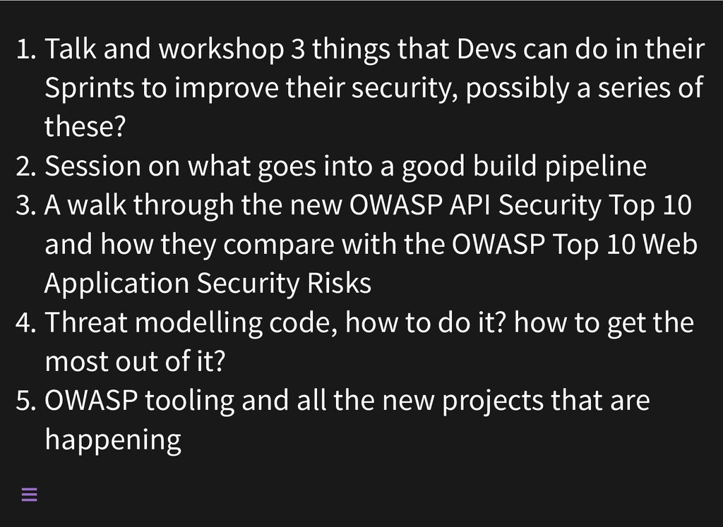 1. Talk and workshop 3 things that Devs can do ...