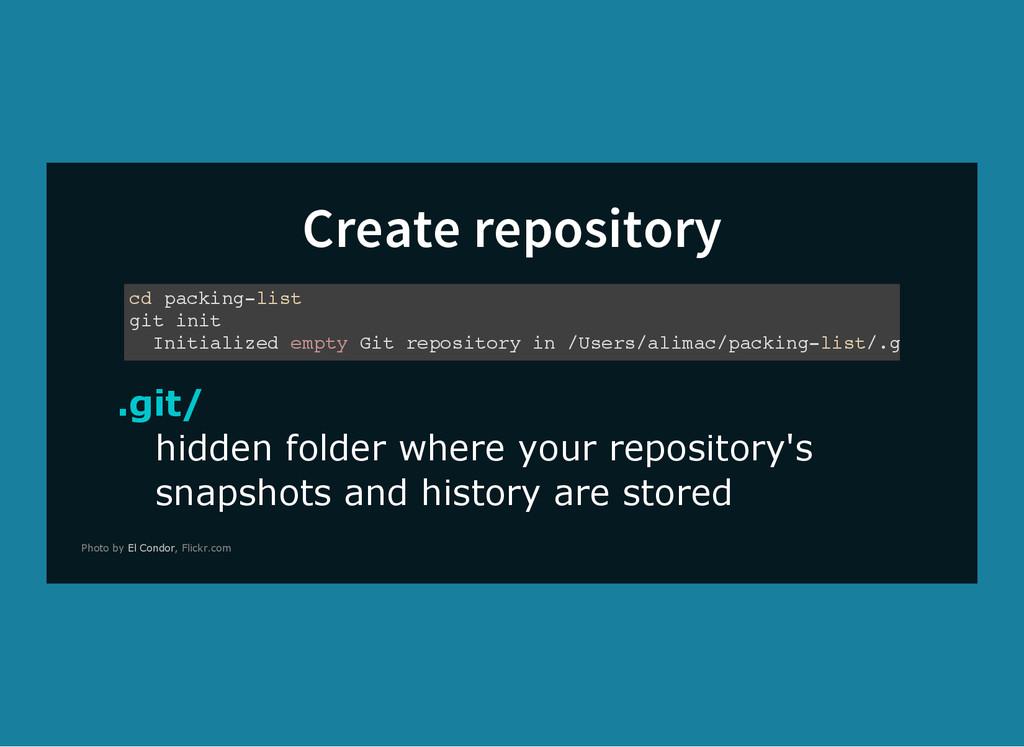 Create repository .git/ hidden folder where you...