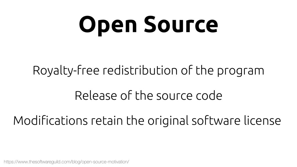 Open Source Royalty-free redistribution of the ...