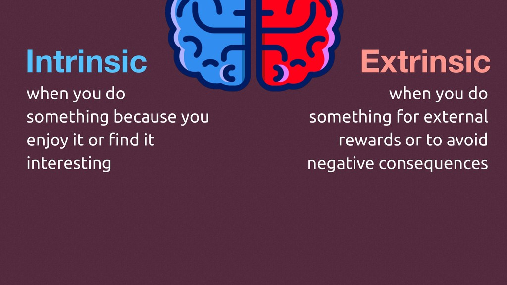 Intrinsic Extrinsic when you do something becau...